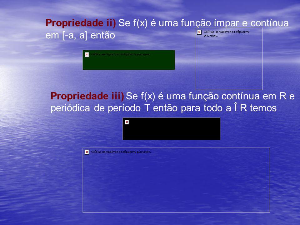 Propriedade ii) Se f(x) é uma função ímpar e contínua em [-a, a] então
